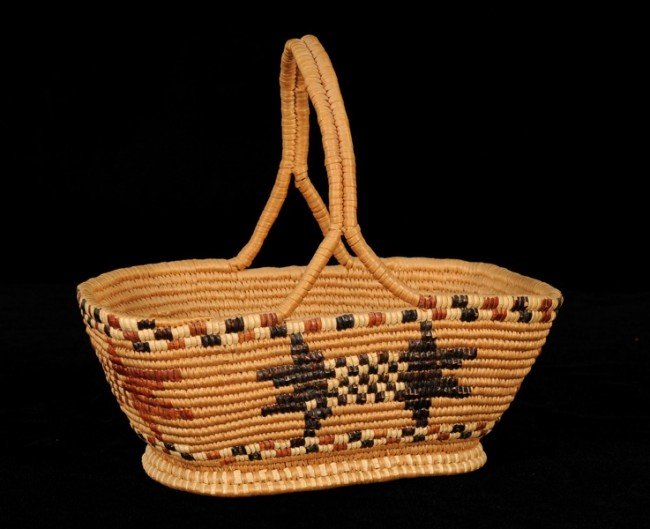 19: Salish Handled Carry Basket with Geometric Design M