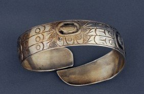 Victor Adams Silver Bracelet With Raven And Eagle D