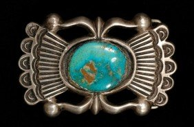 Navajo Silver And Turquoise Sand Cast Buckle 82 GM