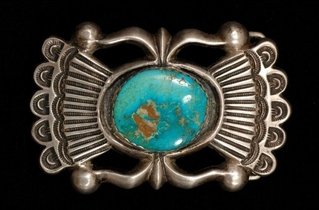 50: Navajo Silver and Turquoise Sand Cast Buckle 82 GM
