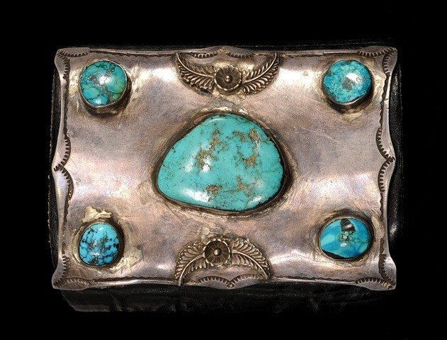 51: Navajo Silver and Turquoise Ketoh (Bow Guard) ca. 1