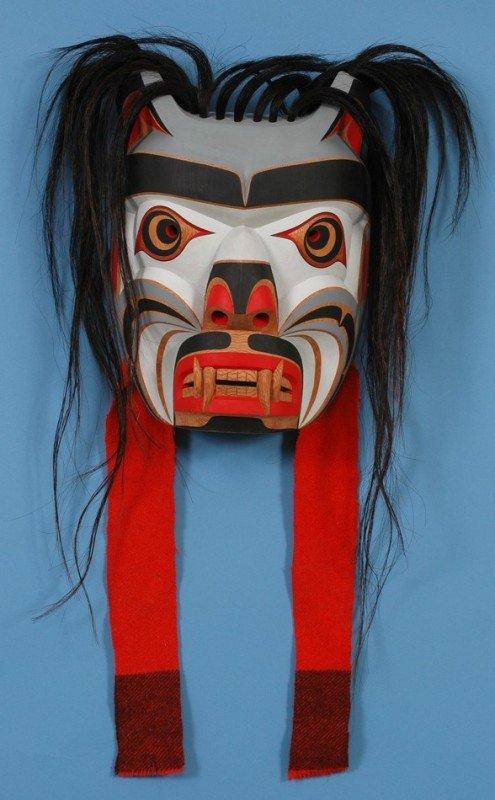 "52: Kwag-uilth Martin Mask Carved by Gene Brabant 16"" H"