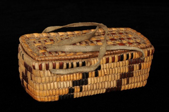 54: Fully Imbricated Salish Basket with Lid and Leather