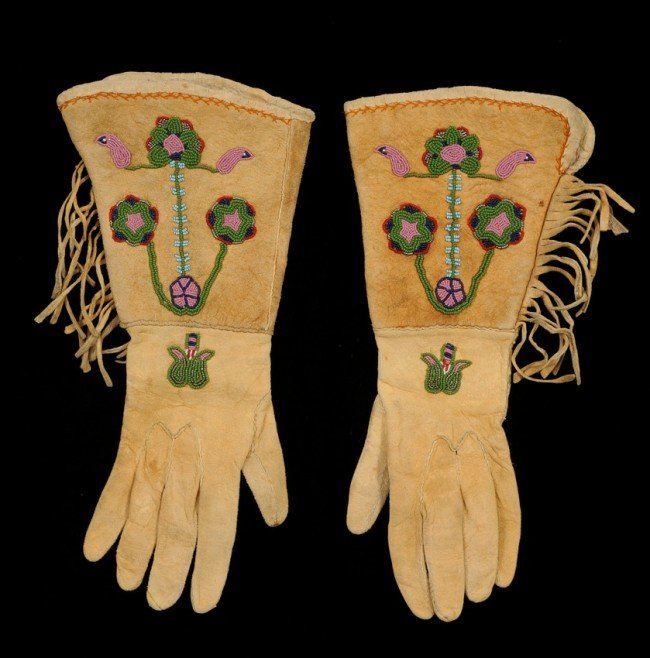 55: Pair of Northern Plains Beaded Gloves with Floral D