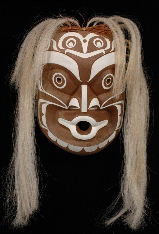"""56: Kwaguilth Ghost Mask """"Lo-Le-Noh"""" Carved by Tony Hun"""