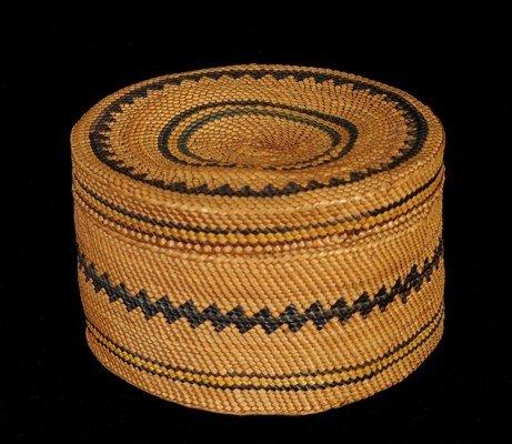57: Makah Lidded Basket Very Finely Woven with Geometri
