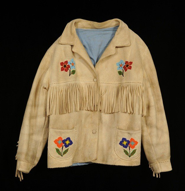 58: Beaded Fringed Jacket with Floral Design Size ML