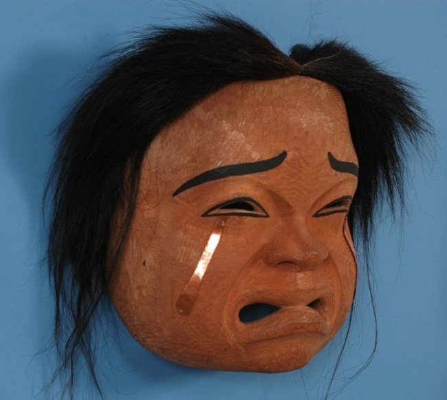 """60: Beau Dick Crying Spirit Mask with Copper Tears 15"""""""