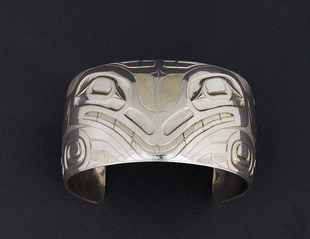 61: Haida Silver Bracelet with Wasco Design by Rick Atk