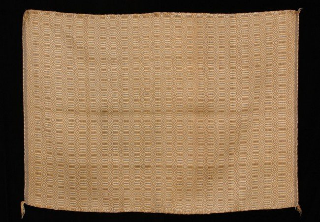 62: Navajo Double Woven Rug with Lozenge and Diamond Pa
