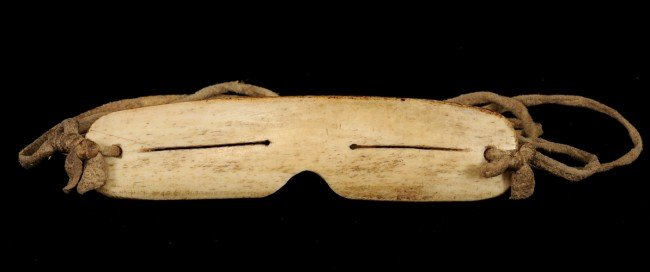 """63: Inuit Snow Goggles - Carved Bone 5"""" W. 1 1/4"""" H.  F"""