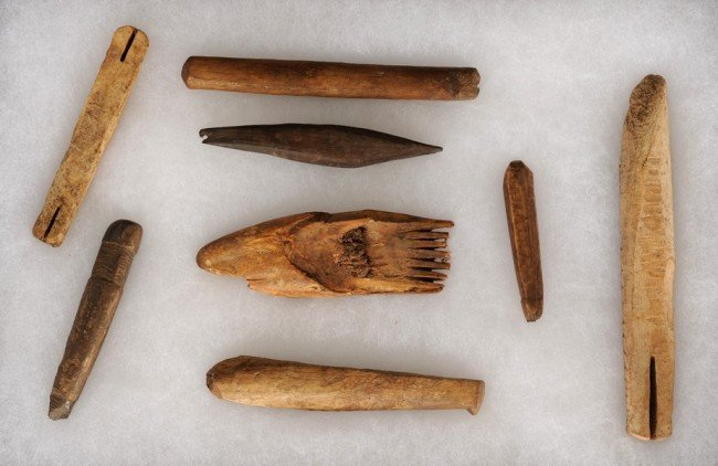"""66: Frame of 11 Inuit Artifacts 2 1/2"""" - 6"""" L.  NOT ALL"""