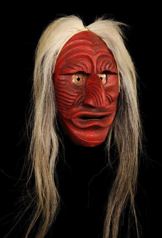 67: Iroquois Cayuga Mask Carved by Jacob E Thomas of Sa