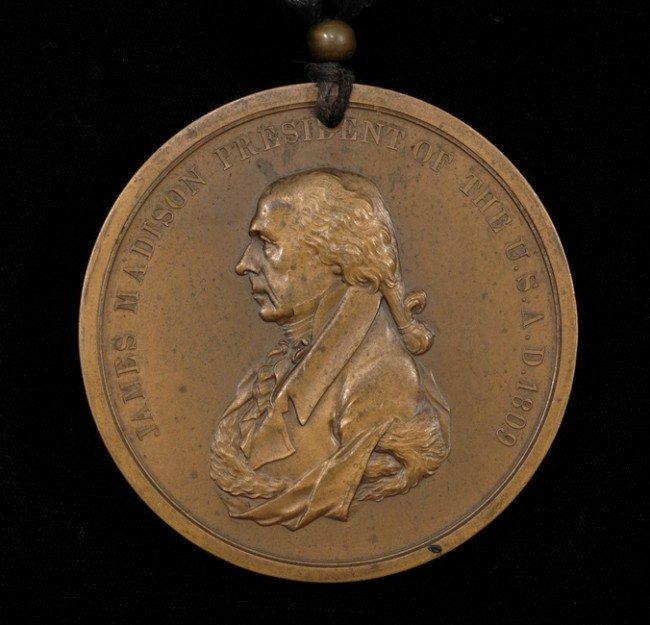 69: 19TH C. Original James Madison Bronze Presidential