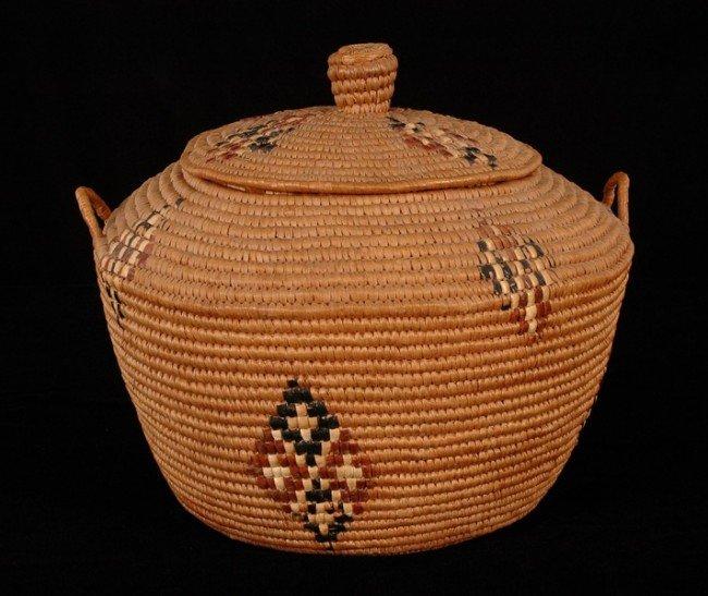 71: Lillooet Knob Top Grain Storage Basket with Handles