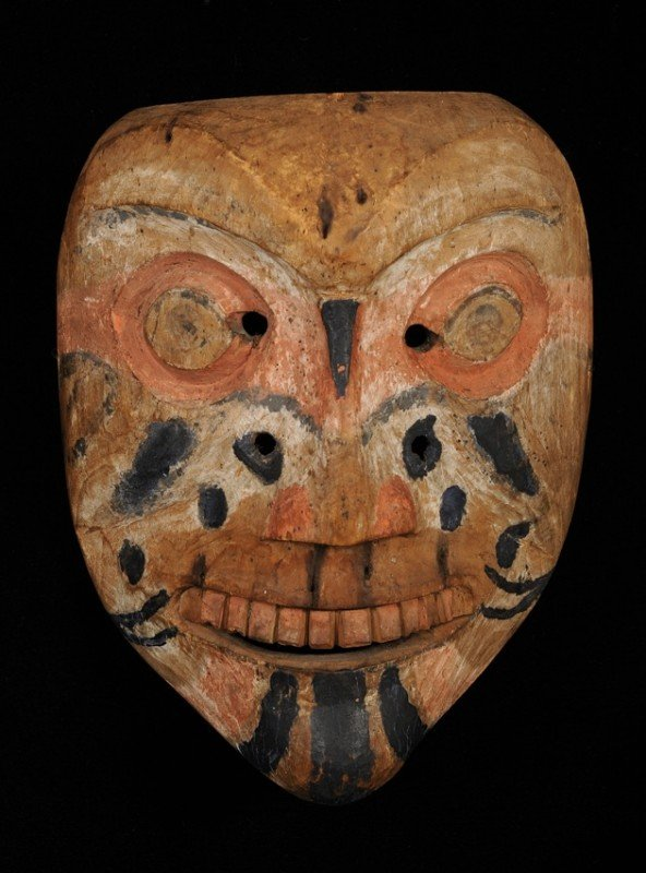 157: 19TH C. Gitxsan Dance Mask - Carved Maple with Tra