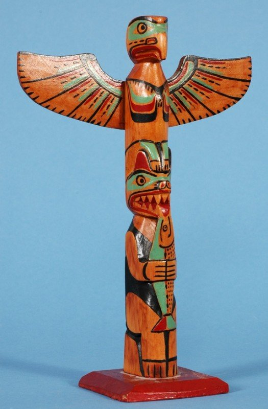 2: George Nelson Carved and Painted Totem - Unsigned 9