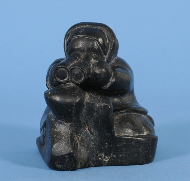 3: Inuit Sculpture of a Hunter with Binoculars by Eli E