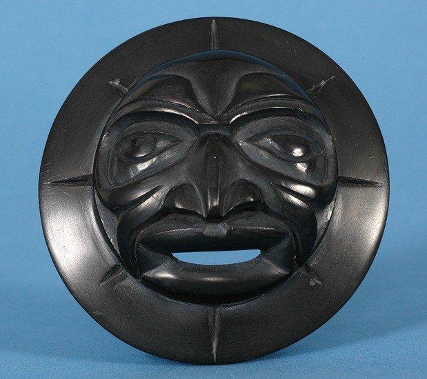 "4: Argillite Moon Mask Carved by Derek Heaton 2 3/4"" D."