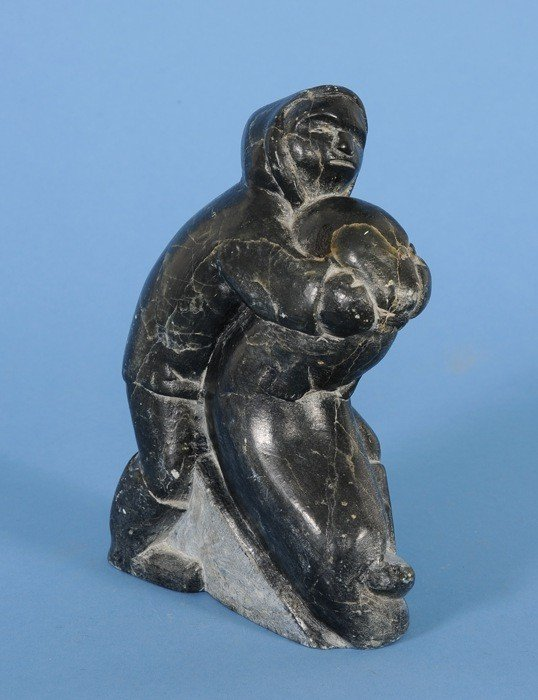 """6: Inuit Sculpture of Man and Walrus 8"""" H. 6"""" W. Good C"""