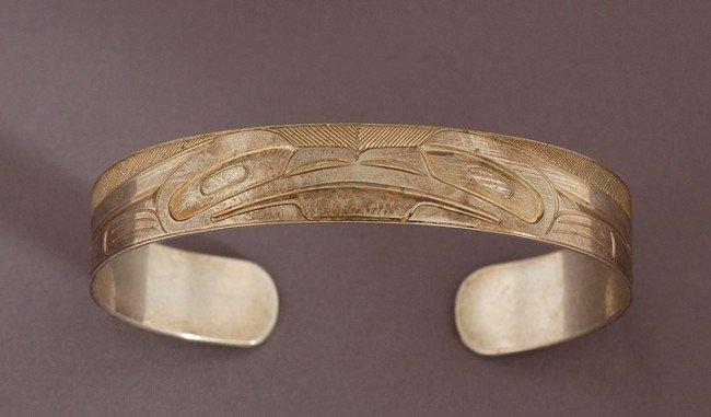 "8: Haida Silver Frog Bracelet by Gerry Marks 6 1/8"" L."