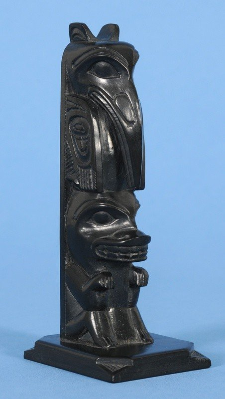 9: Rufus Moody Argillite Totem Carved with Raven and Be