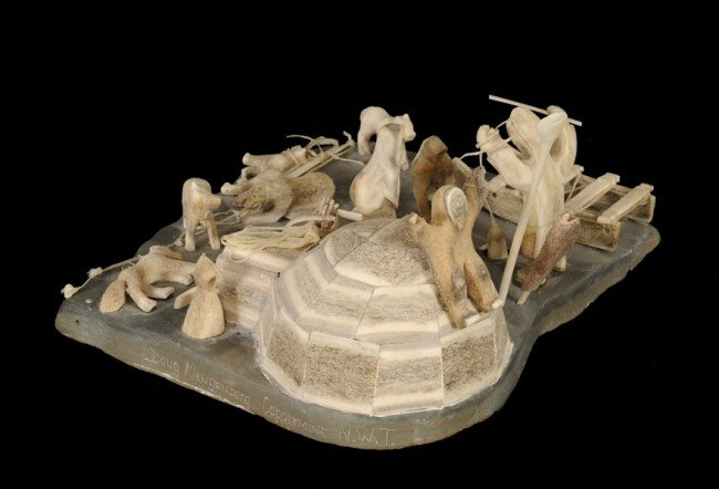 10: Inuit Scene with Carved Antler Igloo, Sled Dogs, Hu