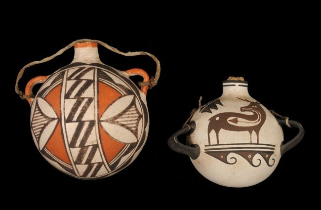 19: Zuni Pottery Water Canteen with Deer and Waterbirds