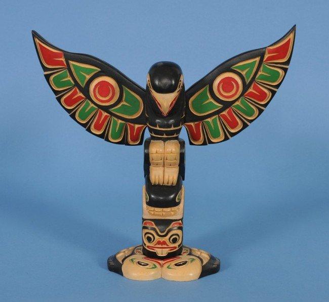 21: Northwest Coast Totem Carved with Eagle and Thunder