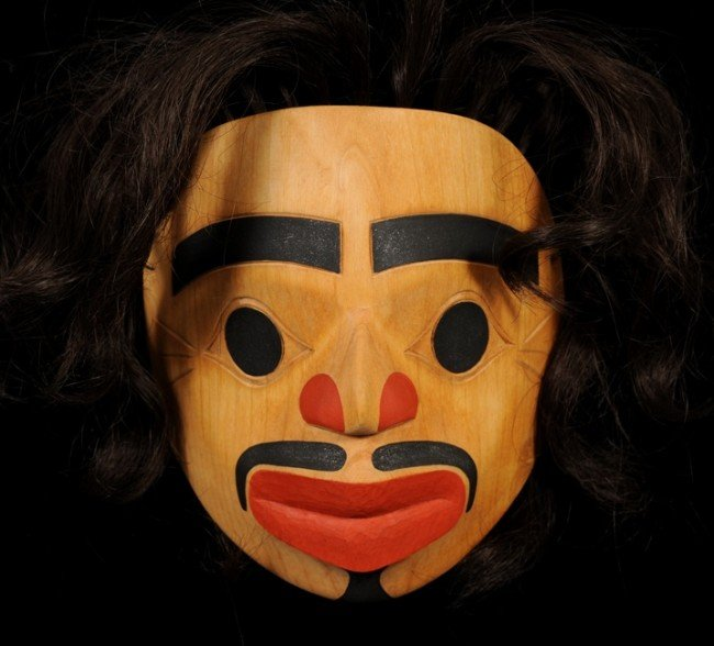 "23: Northwest Coast Caved Yellow Cedar Mask 7 1/4"" H. 6"