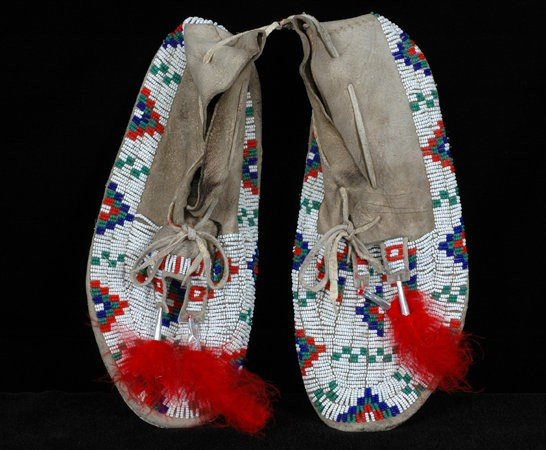 247: Pair of Sioux Beaded Moccasins with Parfleche Sole