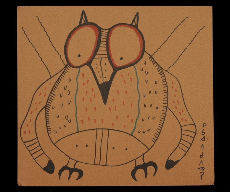 1: Norval Morrisseau Original Colour Ink Drawing of an