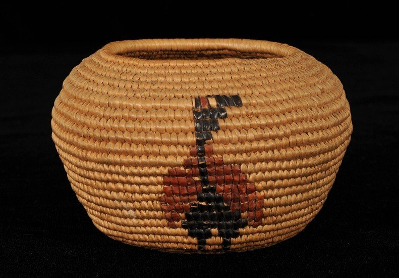5: Lillooet Coiled Basket with Rare Imbricated Goose De