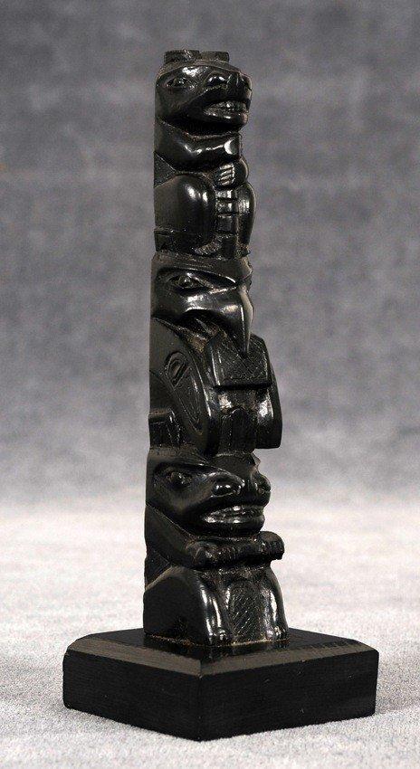 6: Ed Caulder Argillite Totem Carved with Bear, Raven H