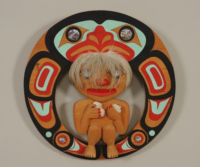 "9: Haida Wood Sculpture ""The Food Gatherer"" by Bill Bel"