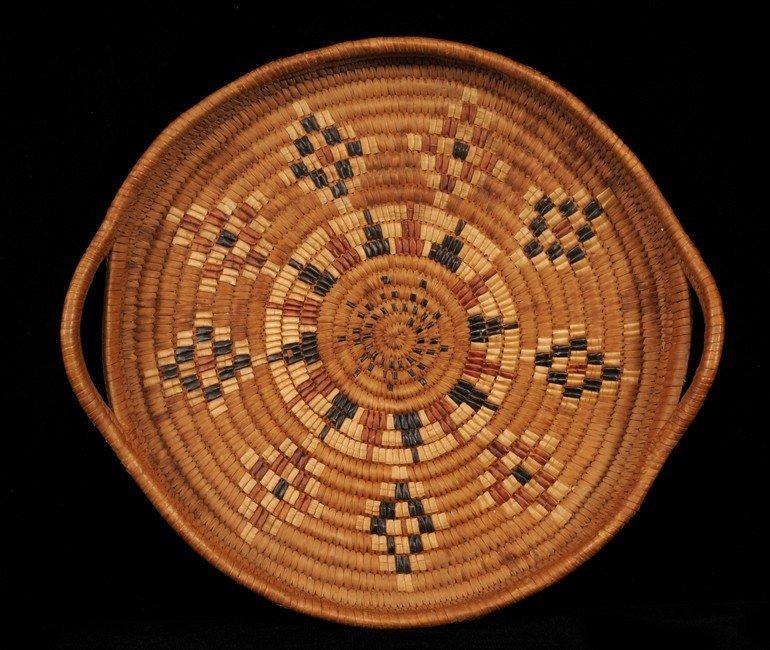 12: Salish Basketry Tray with Handles and Diamond Imbri