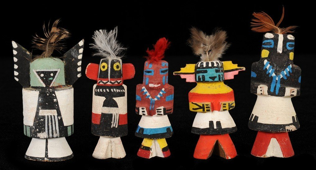 """13: Collection of Five """"Route 66"""" Miniature Kachina Dol"""