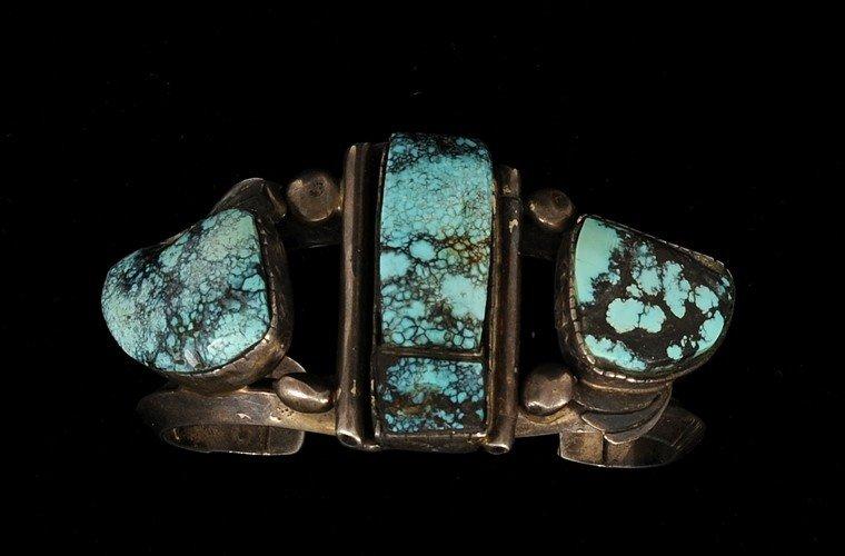 16: Rex Arrowsmith Navajo Silver and Blue Landers Turqu