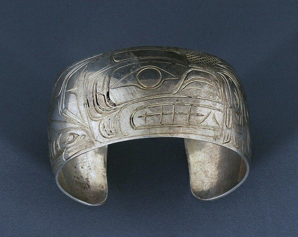 20: Kwaguilth Silver Bracelet with Bear, Eagle, Raven a