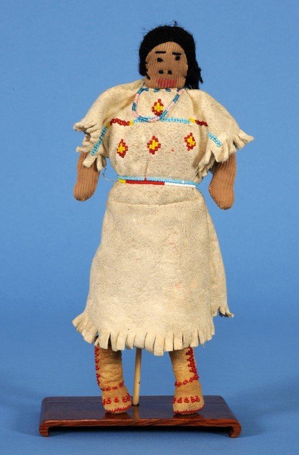 21: Yakama Fully Costumed Beaded Buckskin Doll ca. 1920