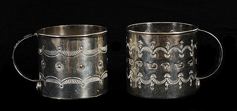 22: Two Navajo Sterling Silver Cups with Incised Design