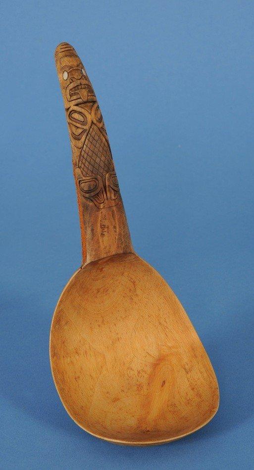 24: Haida Wood Ladle Carved with Shark Handle by David