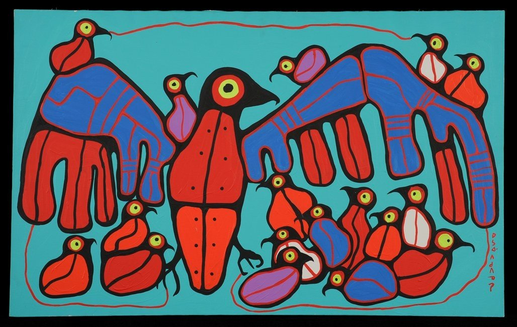 95: Norval Morrisseau Painting on Canvas of a Grouse wi