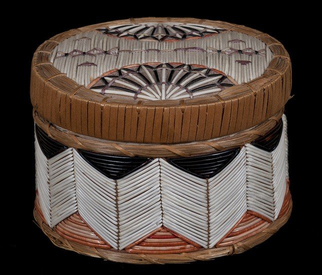 4: Micmac Birch Bark and Porcupine Quill Lidded Basket