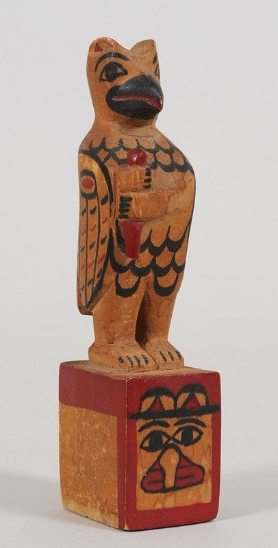 5: Tlingit Totem Carved with Thunderbird Holding a Bato