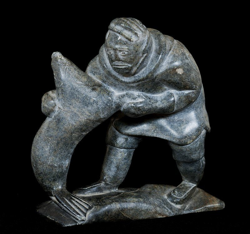 6: Inuit Steatite Sculpture of a Hunter and Seal Signed