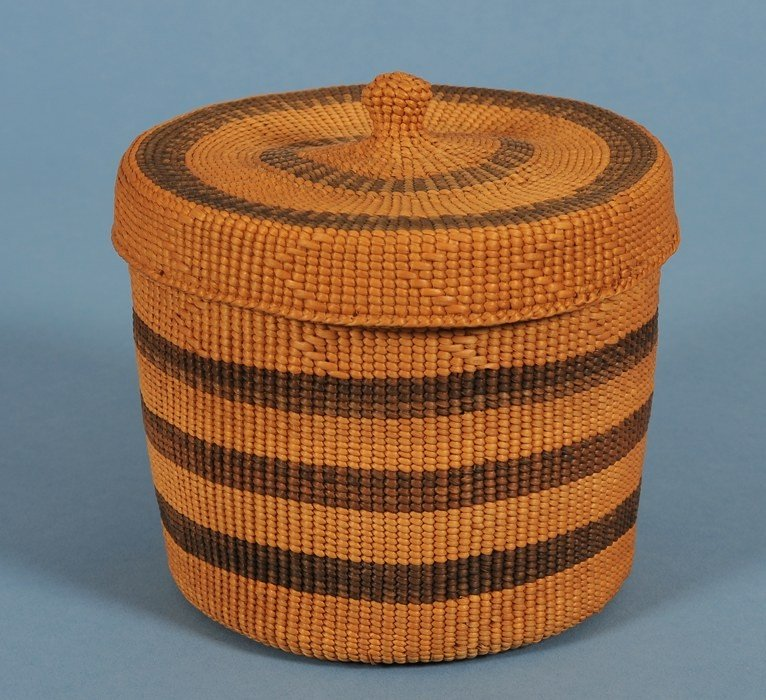 8: Haida Spruce Root Knob Top Basket with Banded Design