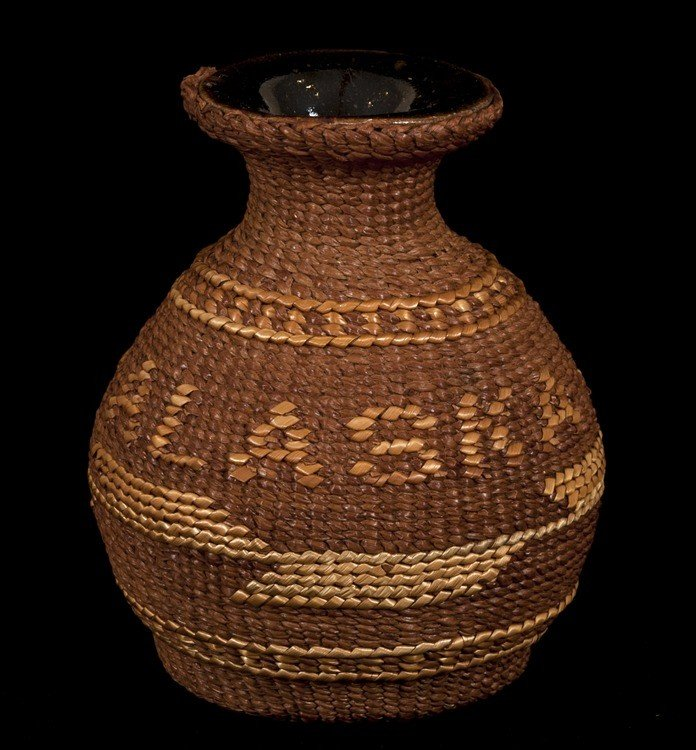 9: Tsimshian Spruce Root Basketry Covered Ceramic Pot w