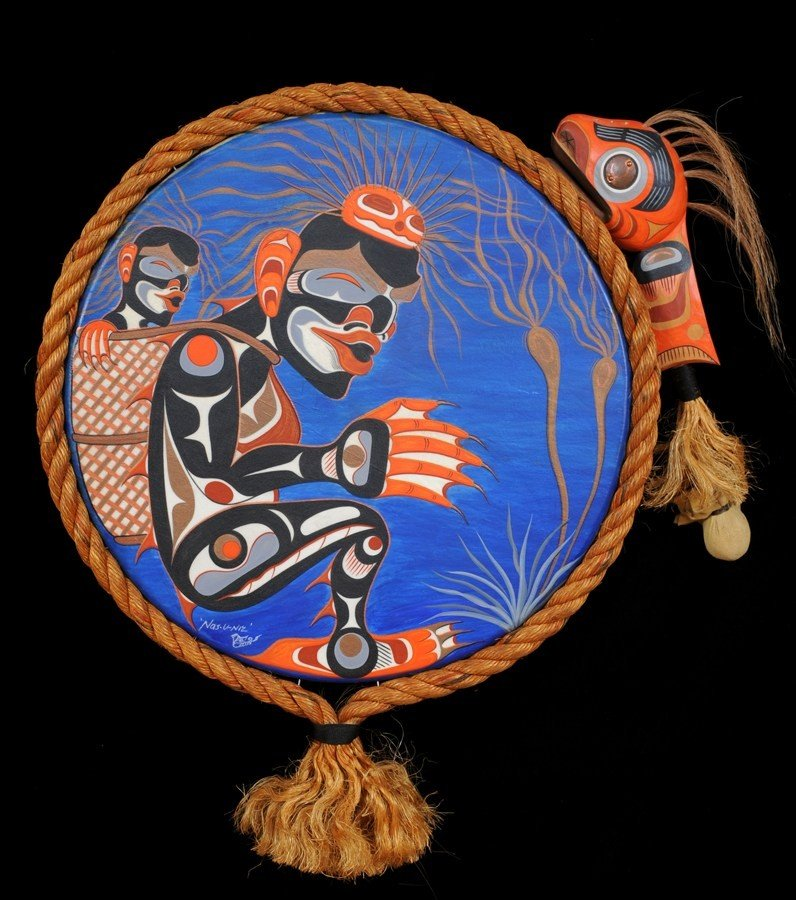 15: Tsona-quis Painted Drum by George Hunt Jr. with Car