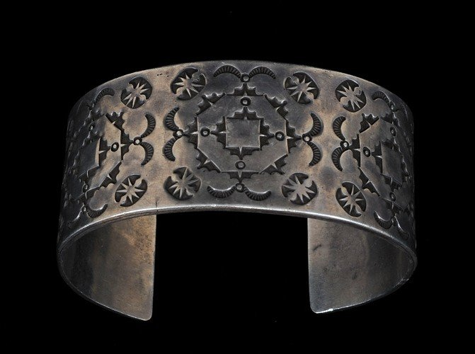 19: Navajo Silver Cuff Bracelet with Stamped Design 150